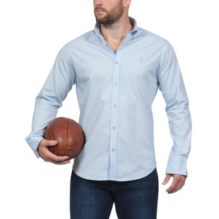 Long-sleeved blue shirt from the theme of Rugby Essentiel with Sebastien Chabal's logo