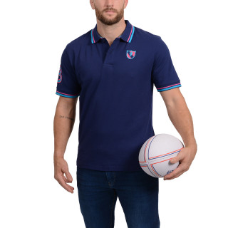 Short-sleeved navy blue polo shirt from the theme of Rugby Essentiel