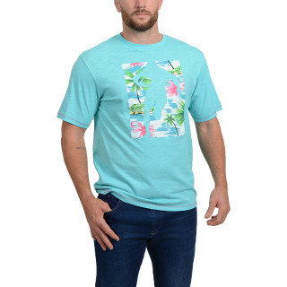 Chabal Island turquoise blue printed t-shirt