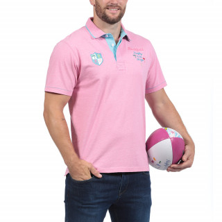 Short-sleeved pink polo shirt from the theme of Rugby à la Plage with chain stitch embroideries.