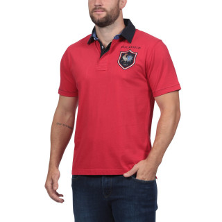 Short-sleeved polo shirt made in cotton jersey with embroidered rooster on patch at chest level.