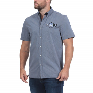 Navy blue short-sleeved summer shirt made in pure cotton.