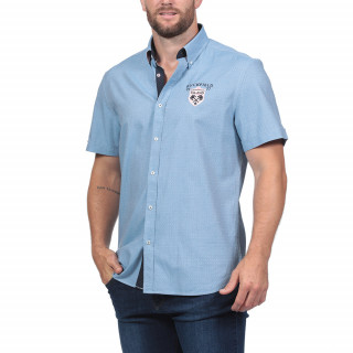 Rugby Island short-sleeved shirt made in fantasy fabric for a relaxed and summer-like look.