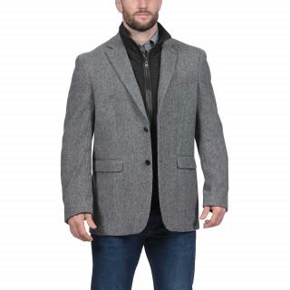 Manteau en laine mélangée gris foncé Maison de Rugby