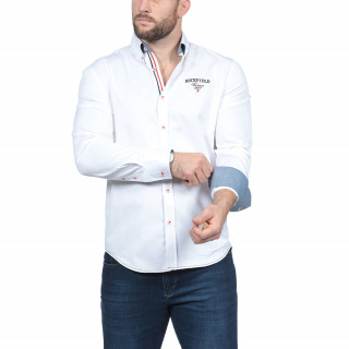 Chemise manches longues blanche en 100% twill de cotonBroderies et détails aux couleurs de la France.