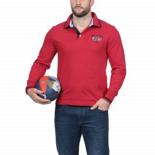 Polo manches longues en 100% coton rouge avec broderies France