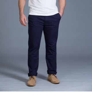 Pantalon chino en coton élasthanne bleu marine avec broderie Sébastien Chabal