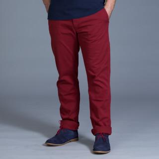 Pantalon chino en coton élasthanne bordeaux avec broderie Sébastien Chabal
