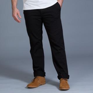 Pantalon chino en coton élasthanne noir avec broderie Sébastien Chabal