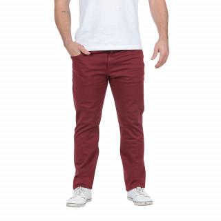 Pantalon 5 poches en coton élasthanne bordeaux avec broderie Sébastien Chabal