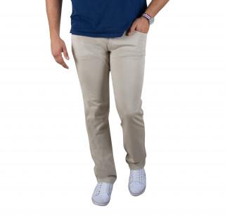 Pantalon 5 poches en coton élasthanne beige avec broderie Sébastien Chabal