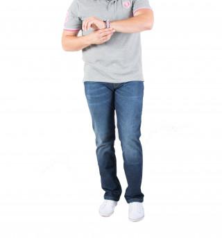 Jean 5 poches homme en coton élasthanne et détails tricolores. Disponible en grande taille