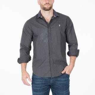 Chemise manches longues grise Ruckfield avec broderie poitrine Sébastien Chabal.