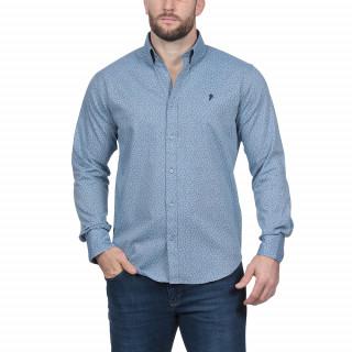 Chemise manches longues imprimé bleu avec broderie Sébastien Chabal.