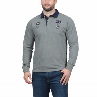 Polo manches longues en coton jersey gris avec broderies nations. Disponible en grandes tailles, jusqu'au 5XL