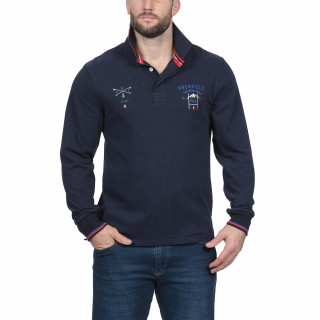 Polo manches longues bleu marine avec broderies rugby ski. Disponible du S au 5XL