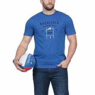 T-shirt manches courtes an coton jersey bleu avec broderies poitrine.