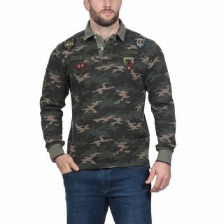 Polo manches longues en jersey lourd imprimé camouflage avec broderies militaire. Disponible jusqu'au 5XL