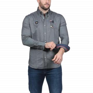 Chemise manches longues en coton gris avec broderies poitrine et dos aux couleurs des nations de rugby.Disponible du S au 5XL