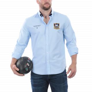 Chemise manches longues en coton bleu ciel avec broderies Rugby Cup