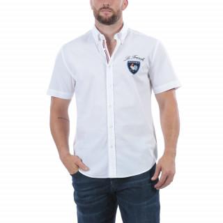 Chemise en coton blanc avec broderies et détails aux couleurs de la France. Disponible jusqu'au 5XL