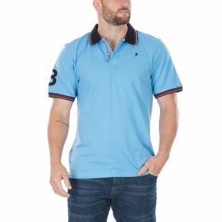 Polo manches courtes en coton piqué bleu avec broderie Sébastien Chabal et N°8 sur la manche. Disponible du S au 5XL