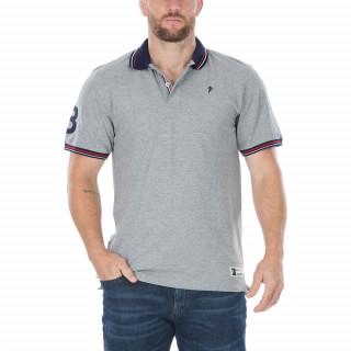 Polo manches courtes en coton piqué gris avec broderie Sébastien Chabal et N°8 sur la manche. Disponible du S au 5XL