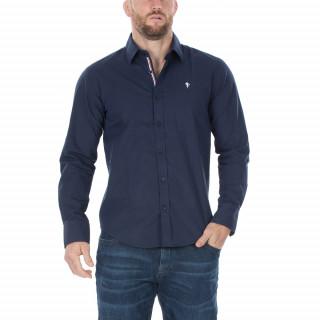 Chemise manches longues en popeline bleu marine. Disponible du S au 5 XL.