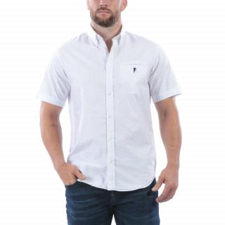 Chemise d'été manches courtes avec broderie Sébastien Chabal sur la poitrine.