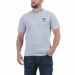T-shirt manches courtes en coton gris. Broderies poitrine et dos.