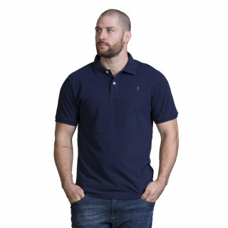 Polo manches courtes en piqué de coton bleu marine. Disponible du S au 5XL