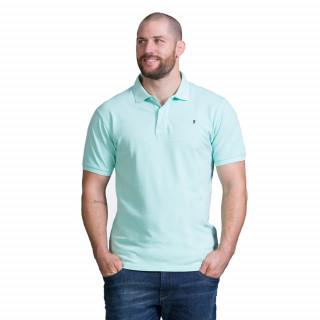 Polo manches courtes en piqué de coton vert clair. Disponible du S au 5XL