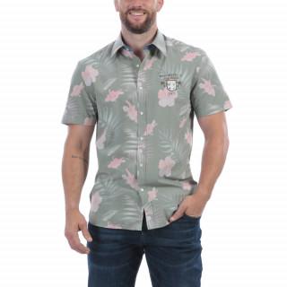 Chemise manches courtes en bambou avec broderie Tropical. Disponible du S au 5 XL.