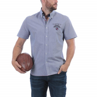 Chemise manches courtes en pur coton bleu clair avec  broderie Maison de rugby poitrine et dos. Disponible jusqu'au 5XL