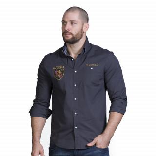 Chemise manches longues en matière confort grise avec broderies rugby Héritage. Disponible jusqu'au 5XL.