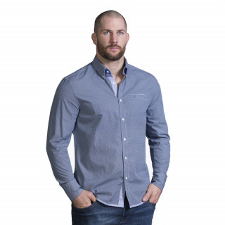 Chemise manches longues bleu dans un beau coton avec logo poitrine.
