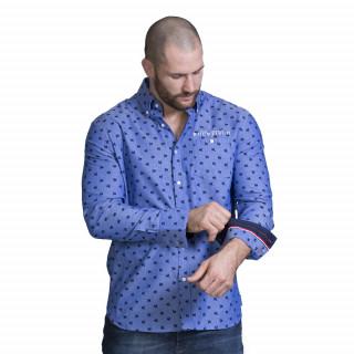 Chemise à motifs coq Français avec broderies et poche poitrine. Disponible du S au 5XL