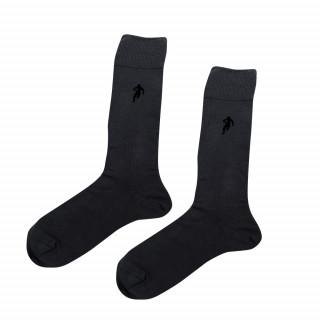 Chaussettes unies homme en fil de coton gris foncé. Disponible en 39/42, 43/46, 47/50