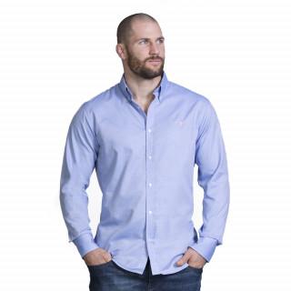 Chemise à manches longues en coton bleu avec logo brodé. Disponible du S au 5XL