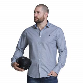 Chemise manches longues en coton bleu. Disponible du S jusqu'au 5XL