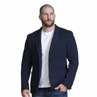 Veste sportswear marine avec broderies et details tricolores.