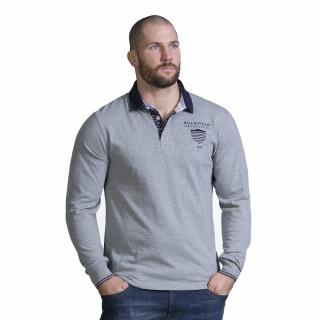 Polo en coton gris à manches longues avec broderies poitrine et dos du thème We are rugby.