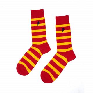 Chaussettes rayées rouge et jaune, disponible en 39/42, 43/46, 47/50
