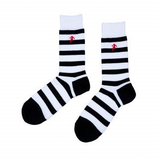 Chaussettes blanches rayées noir