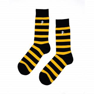 Chaussettes rayées noir et jaune, disponible en 39/42, 43/46, 47/50