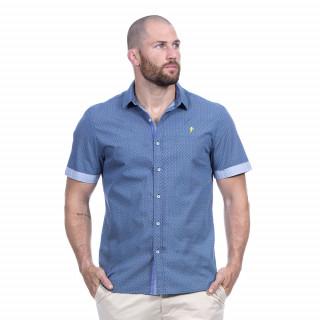 Chemise manches courtes bleu à motif du thème Rugby élégance.