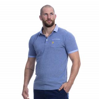 Polo manches courtes bleu clair du thème rugby élégance