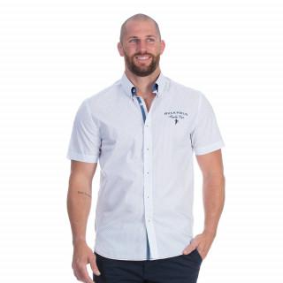 Chemise manches courtes blanche à imprimé avec broderies Rugby cup