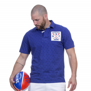 Polo manches courtes bleu avec broderies Rugby marine