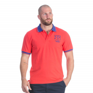 Polo manches courtes rouge avec broderie Rugby marine